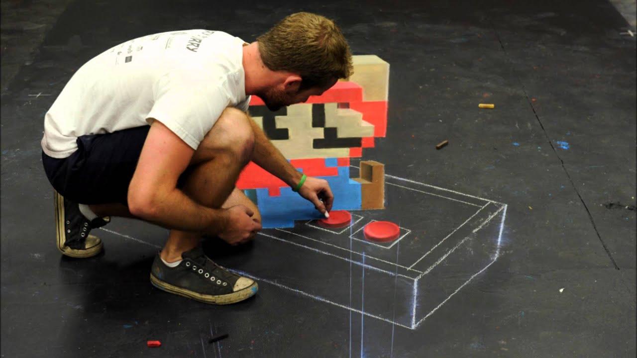 Super Mario - 3d Chalk Art Time Lapse
