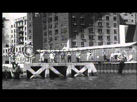 American prisoners lounge on the deck of USS Benevolence in the Tokyo Bay in Toky...HD Stock Footage