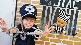 Margo playing as Cop LOCKED UP doll Diana in Jail Playhouse Toy for Kids
