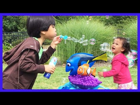 Fun Playing Outdoors With Bubbles, Kids Blowing Bubbles | Finding Dory Bubbles