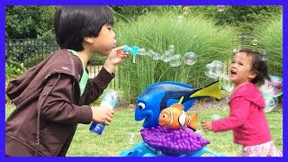 Fun playing outdoors wİth Bubbles, kids blowing bubbles | Finding Dory Bubbles