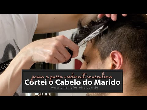 Como cortar  o cabelo do marido em casa | Corte Médio Masculino - Undercut