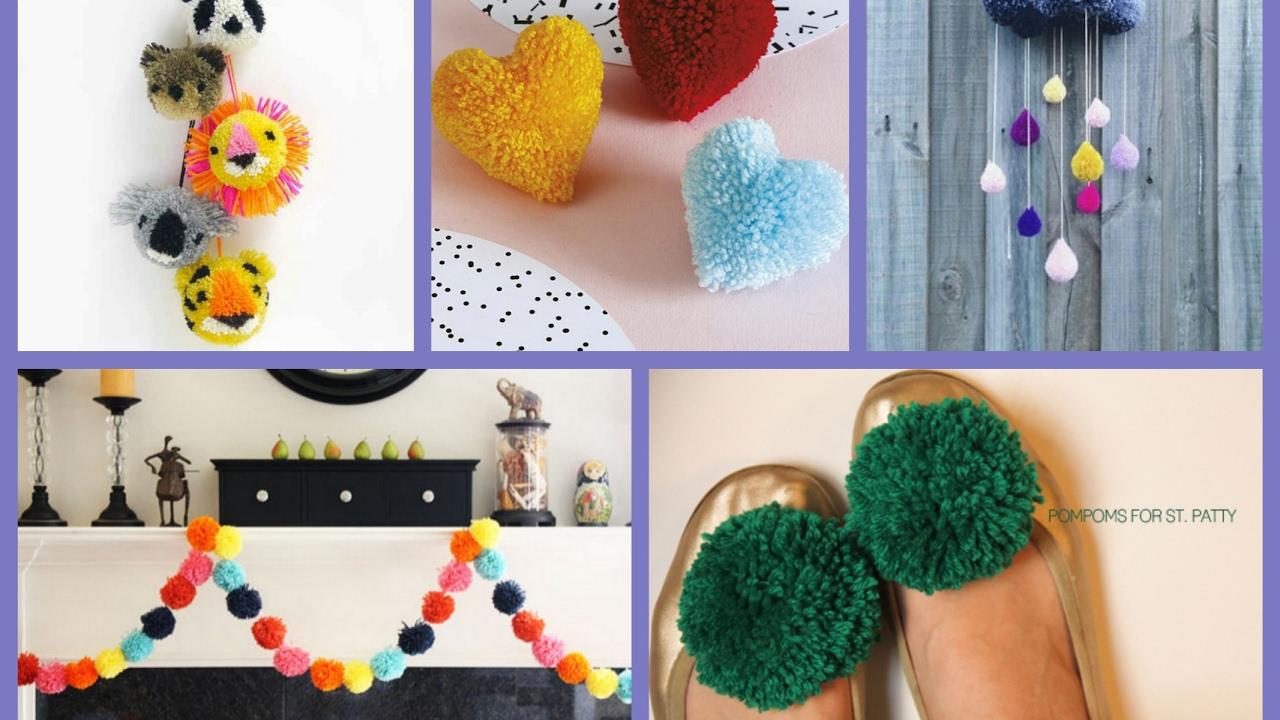 Pom Pom Crafts Ideas Diy Pompoms Projects Inspiration Youtube