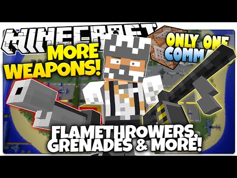 Minecraft | MORE WEAPONS | Machine Gun, Flamethrower, & More! (Minecraft Custom Command)