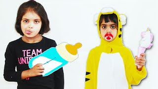 Ashu as Toddler and Katy Cutie Pretend Play like Nanny for Ashu