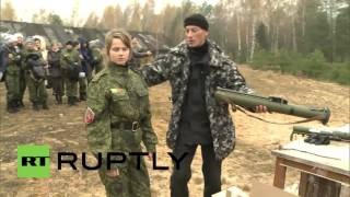 Russia: Knife-throwing girls impress at Amazonki military youth games