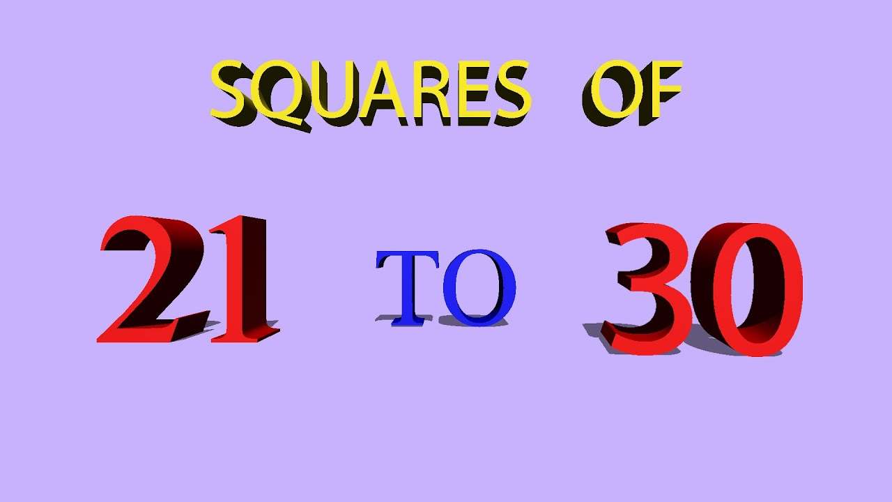 Math - Learn Squares of 21 to 30 in Easy way - YouTube