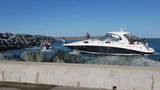 Boat Crashes into Rocks & Police Boat