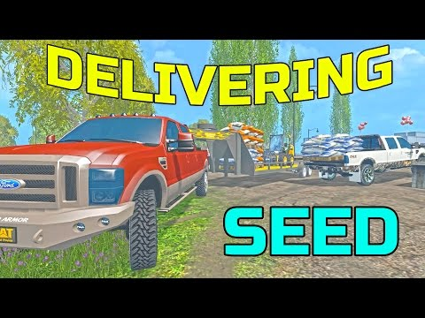 FARMING SIMULATOR 2015 | HAULING SEED IN TRUCK BED AND TRAILER | F-250