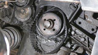 Последствия попадания порванного ремня генератора под ремень ГРМ на Fiat Doblo 1.9JTD