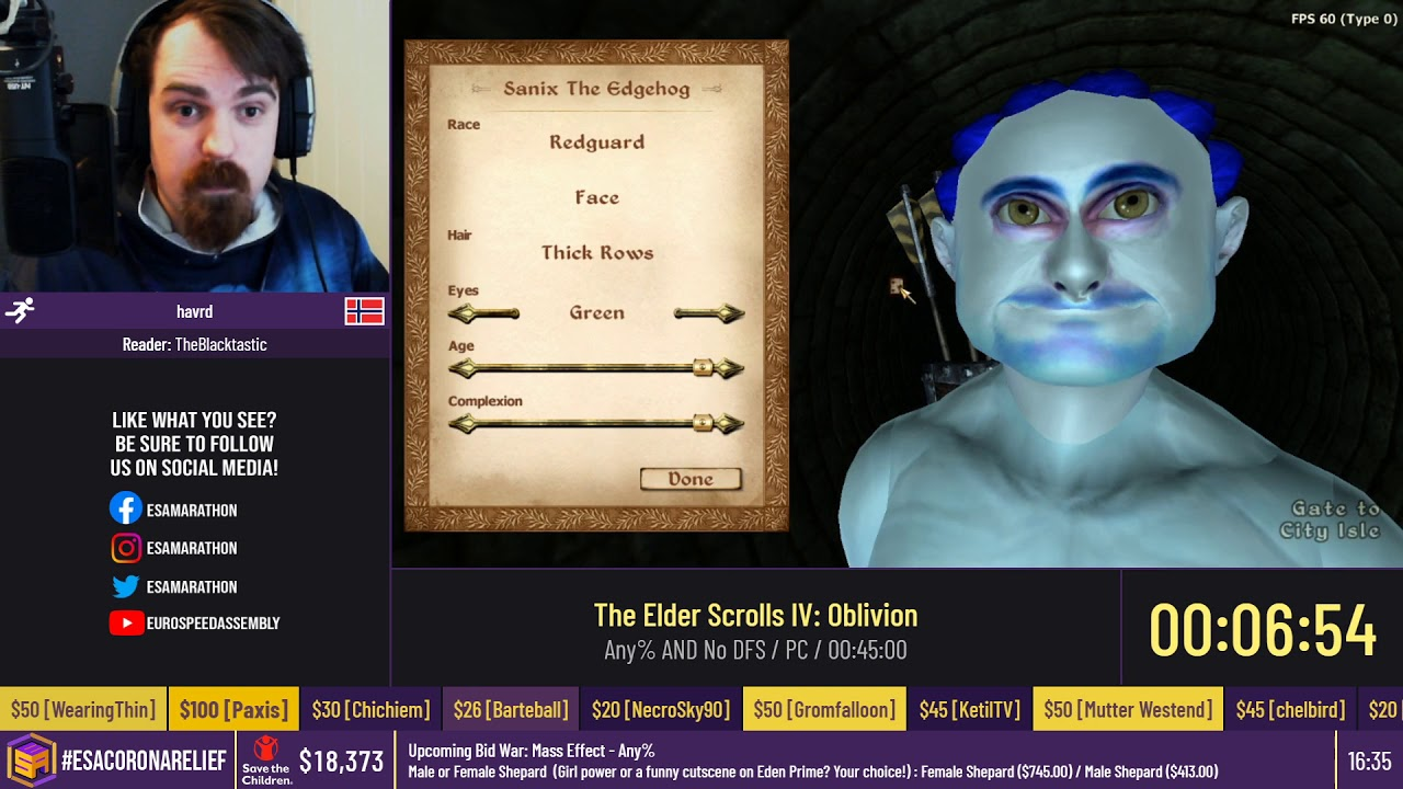 The Elder Scrolls IV: Oblivion [Any% AND No DFS] by havrd - #ESACoronaRelief