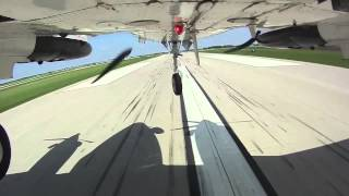 King Air crosswind landing from belly cam