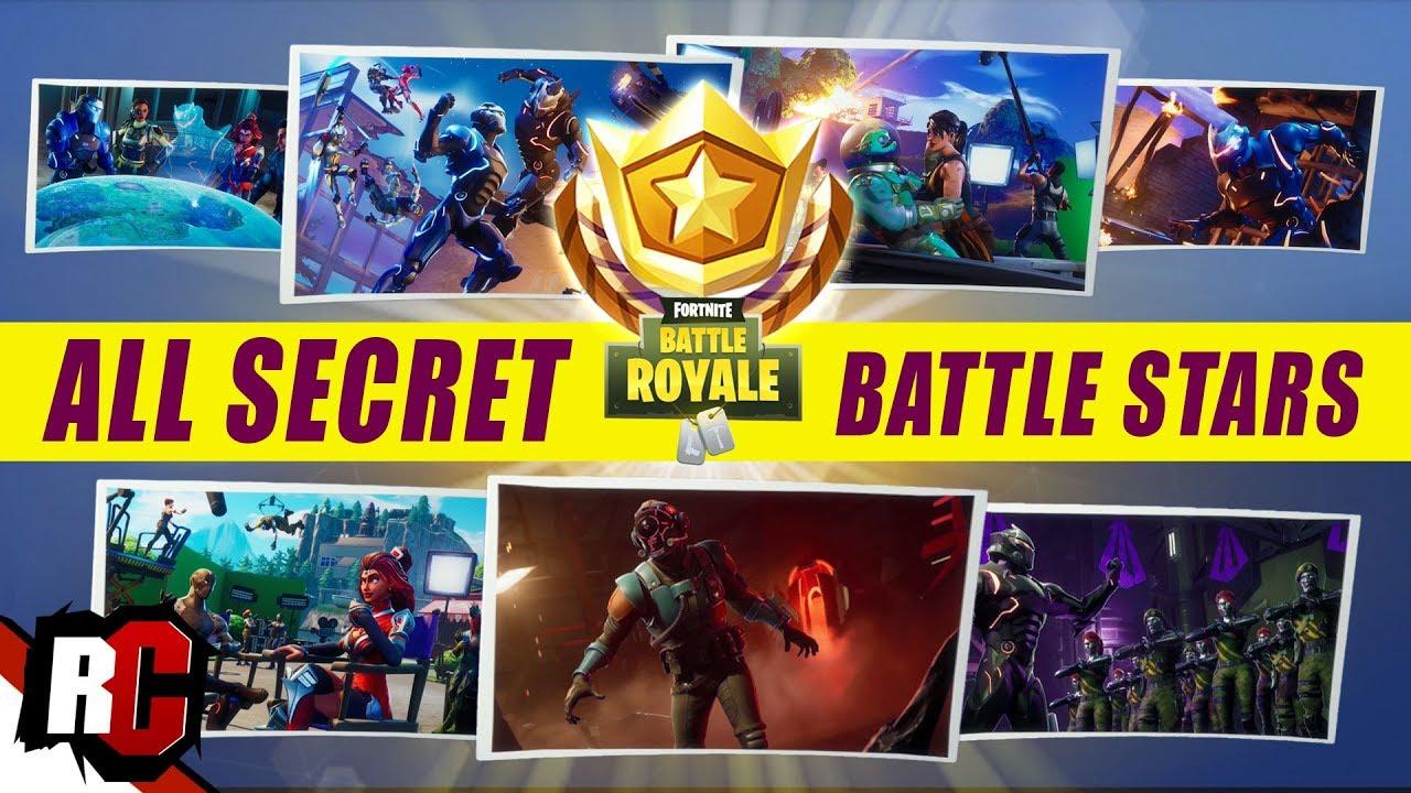 All 7 Secret Battle Star Locations Fortnite All Blockbluster