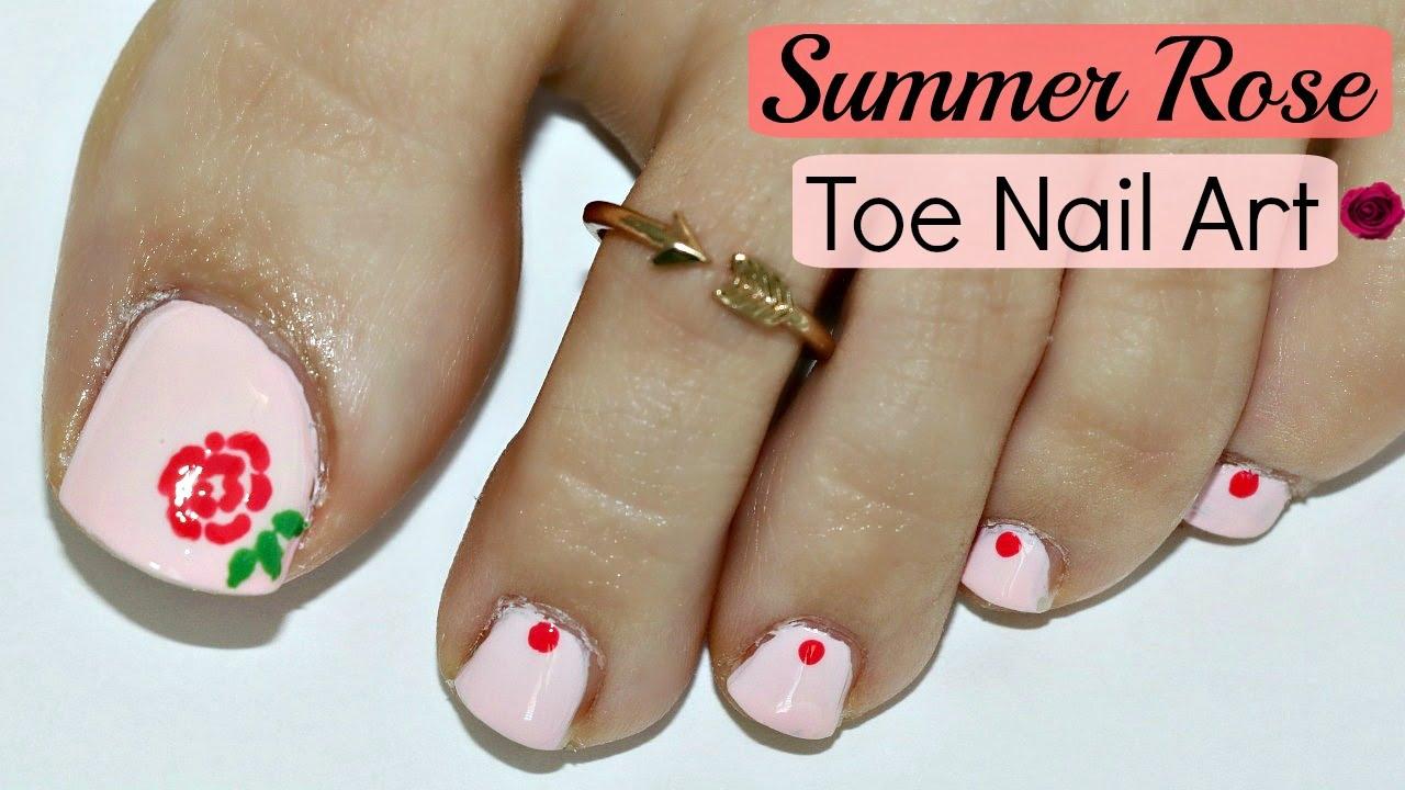 Summer Rose Toe Nail Art Design! - YouTube