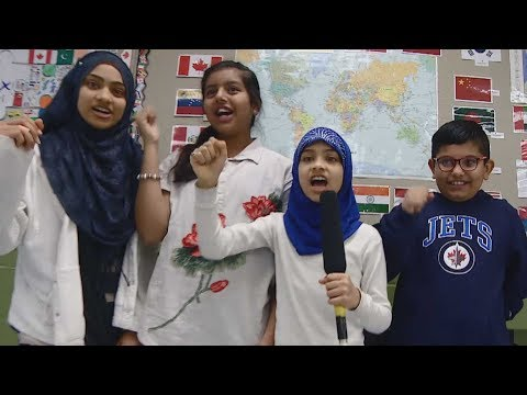 Kids cheer on Winnipeg Jets in more than a dozen languages