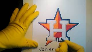 How To Draw The Houston Astros Logo Sign Symbol Emblem Step By Tutorial