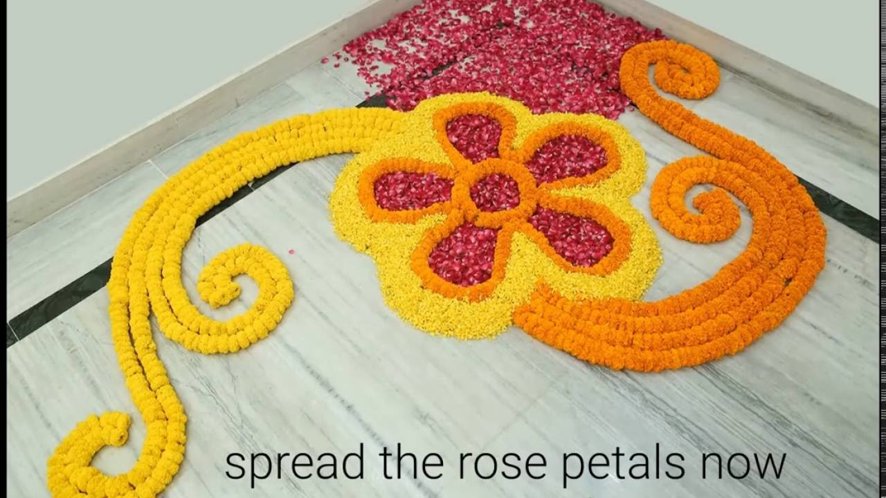 Home decor ideas how to make rangoli with flowers youtube Www home decor ideas