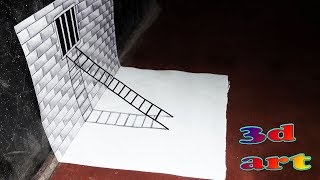 How to Draw a 3D Ladder On the Wall-3d trick art on paper | 3D drawing for kids | Easy Trick|