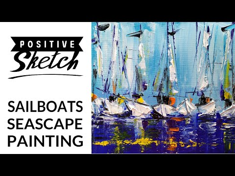 Abstract painting / Easy acrylic painting / Sailboat / Acrylic painting / Relaxing / Art therapy