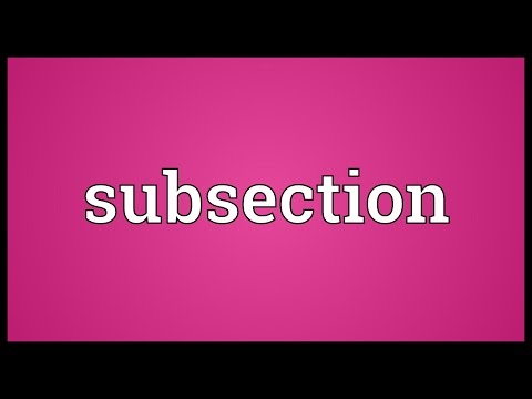 Subsection Meaning