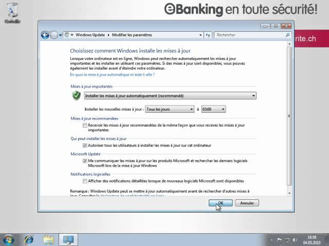 Activation des mises à jour automatiques sous Windows 7 (FR)