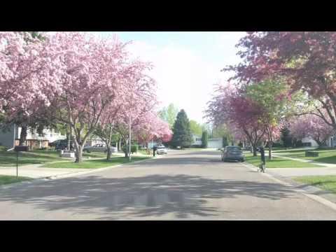 Driving through beautiful neighborhood in Fargo