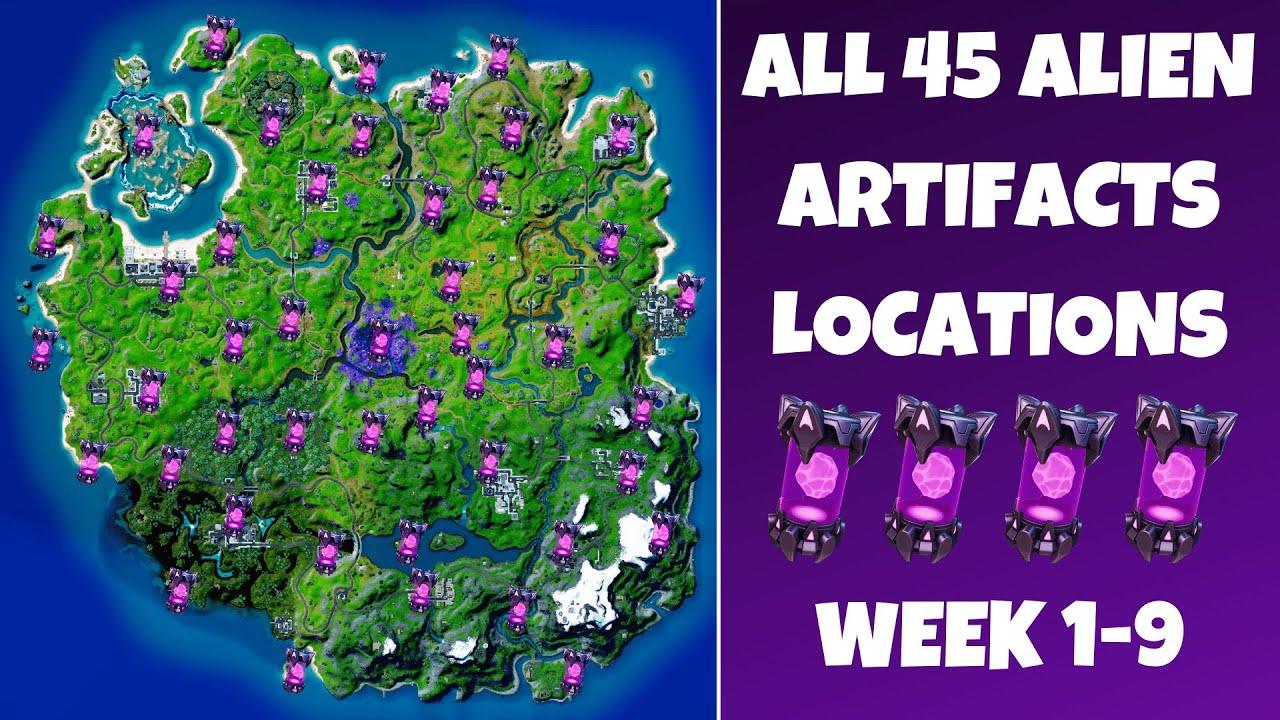 Fortnite All 45 Alien Artifacts Locations Guide (Week 1-9)