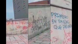 Marchas sí, pero no así: vándalos rayaron monumento histórico en Bogotá | Noticias Caracol