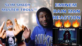 RAIN MAN - EMINEM   SLIM SHADY IS TROLLING!!!   REACTION