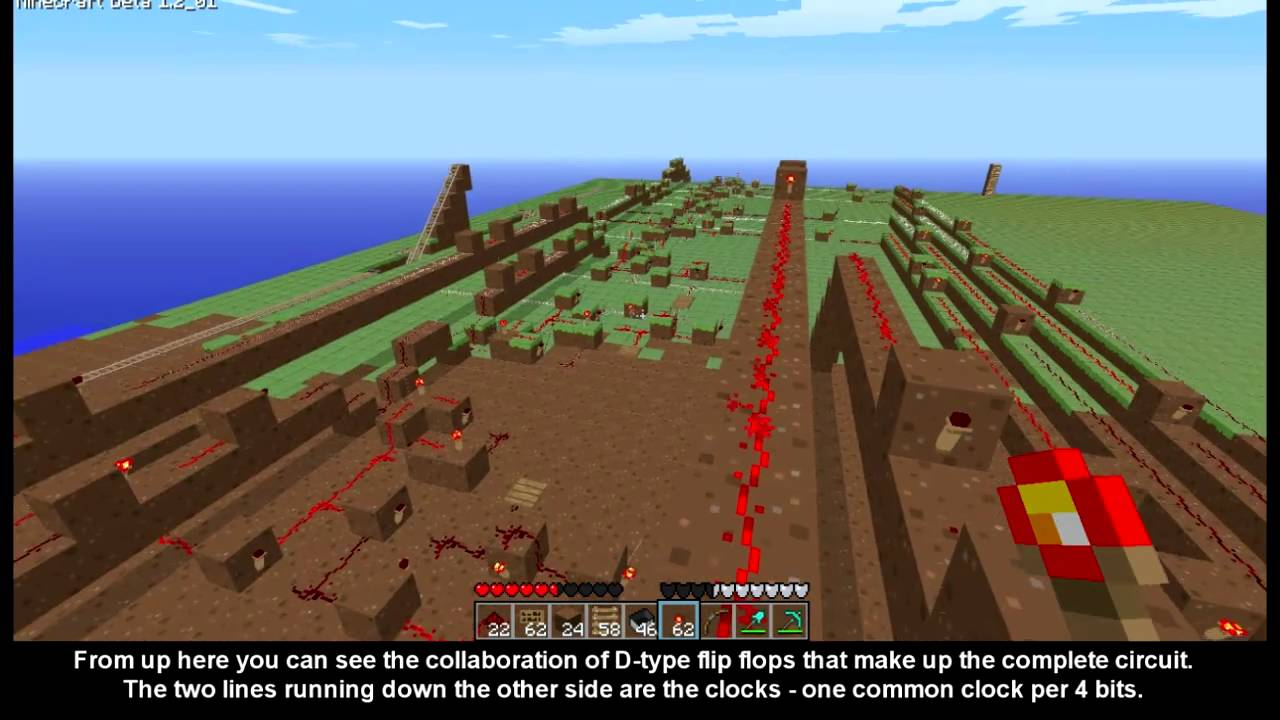 Minecraft Redstone Circuit 8 Bit Memory System Youtube Related To How Create A Repeating