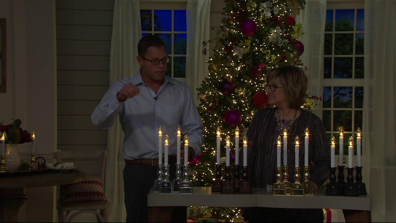 Bethlehem lights window candles with timer - Bethlehem Lights Set Of 4 Battery Op Slim Base Window Candles On Qvc