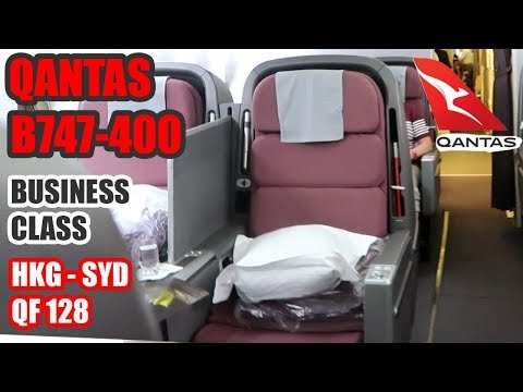 QANTAS BUSINESS CLASS B747-400 Review (LOUNGE, SEAT & FOOD) -  HONG KONG to SYDNEY Flight (QF 128)