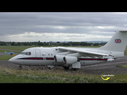 Queens Flight BAE 146 ZE701 Royal Airforce  - Very close up Departure - Gloucestershire Airport