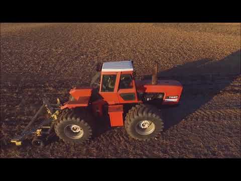 2  FOUR WHEEL DRIVE ALLIS CHALMERS TRACTORS WORKING RIPPING EATON, OHIO DEC 2ND, 2017 DRONE VIDEO