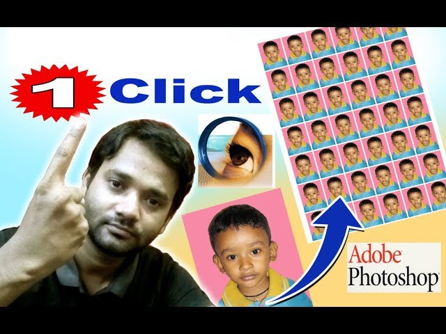 Photoshop Tutorial | Sirf 1 click | More Photo set in A4 Page