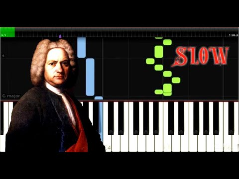 Bach - Prelude in C minor, BWV 847 - Easy Piano Music - SLOW