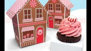 Make A Paper Gingerbread House Cupcake Box, Holds Treats, Candy And Christmas Favors