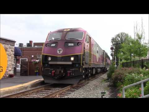 MBTA Commuter Trains at Needham, MA Center Train Station 5/24/17