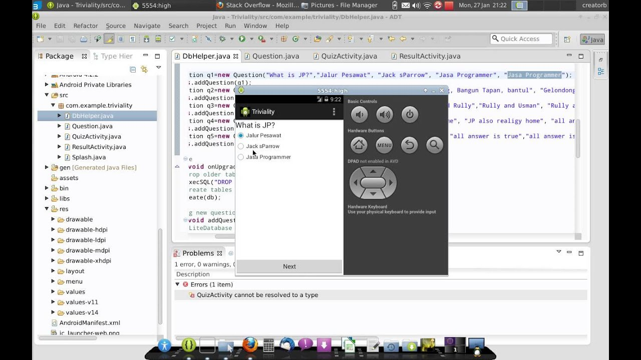 How To Create A App Quiz Android Programming?
