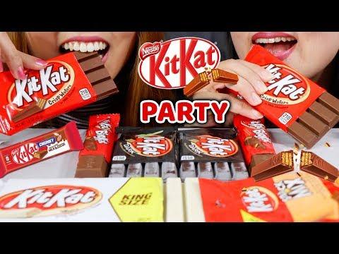 ASMR KITKAT CHOCOLATE PARTY! 킷캣 초콜릿 리얼사운드 먹방 | Kim&Liz ASMR