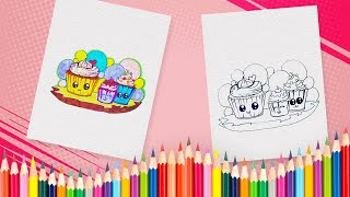 How to Draw Cupcakes for Kids | Drawing and Coloring Cupcakes Coloring Book Pages for Children