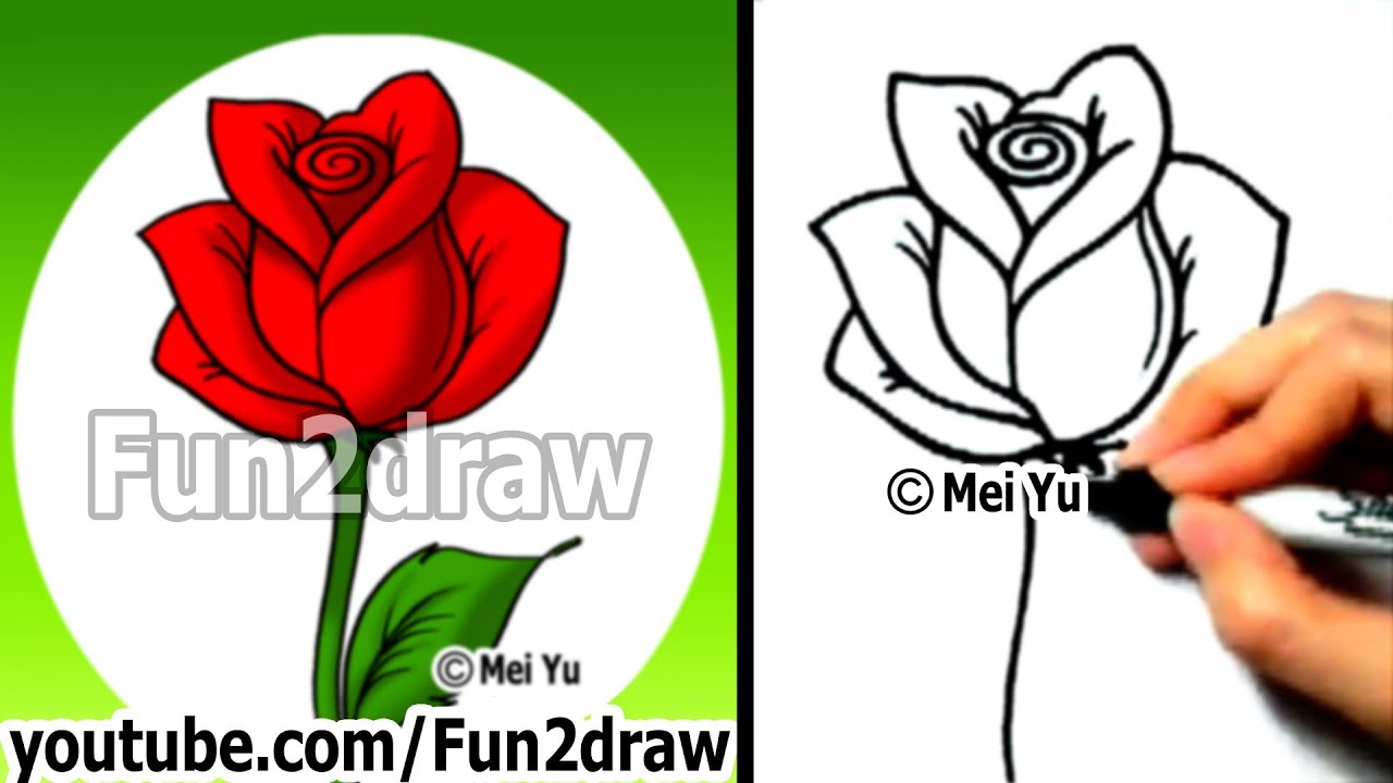 How to draw an easy rose drawing lessons learn to draw fun2draw