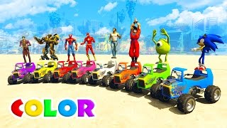 LEARN COLOR small cars  JUMP into the water and boats! Superheroes Cartoon for kids