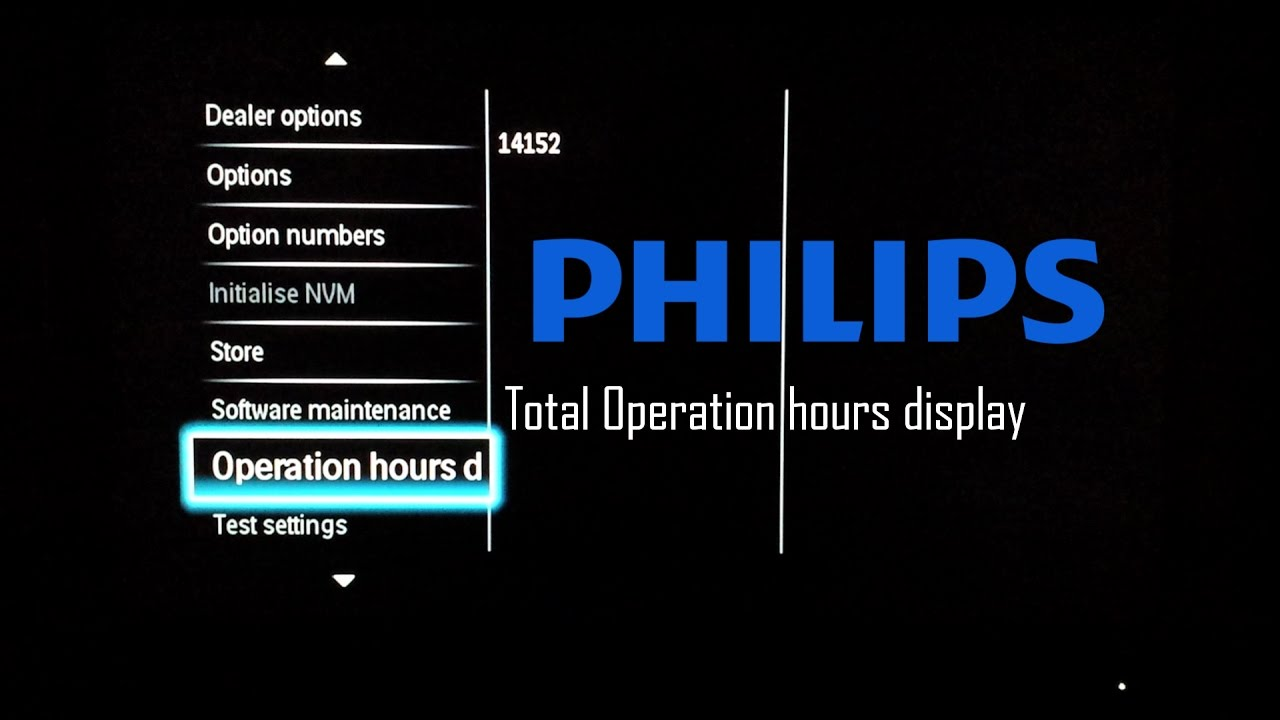 Philips TV Total Run Time with Service Menu