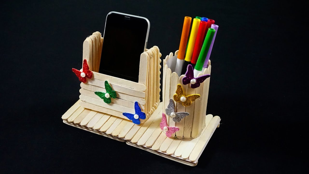 Popsicle Stick Crafts Popsicle Stick Pen Holder Popsicle Stick