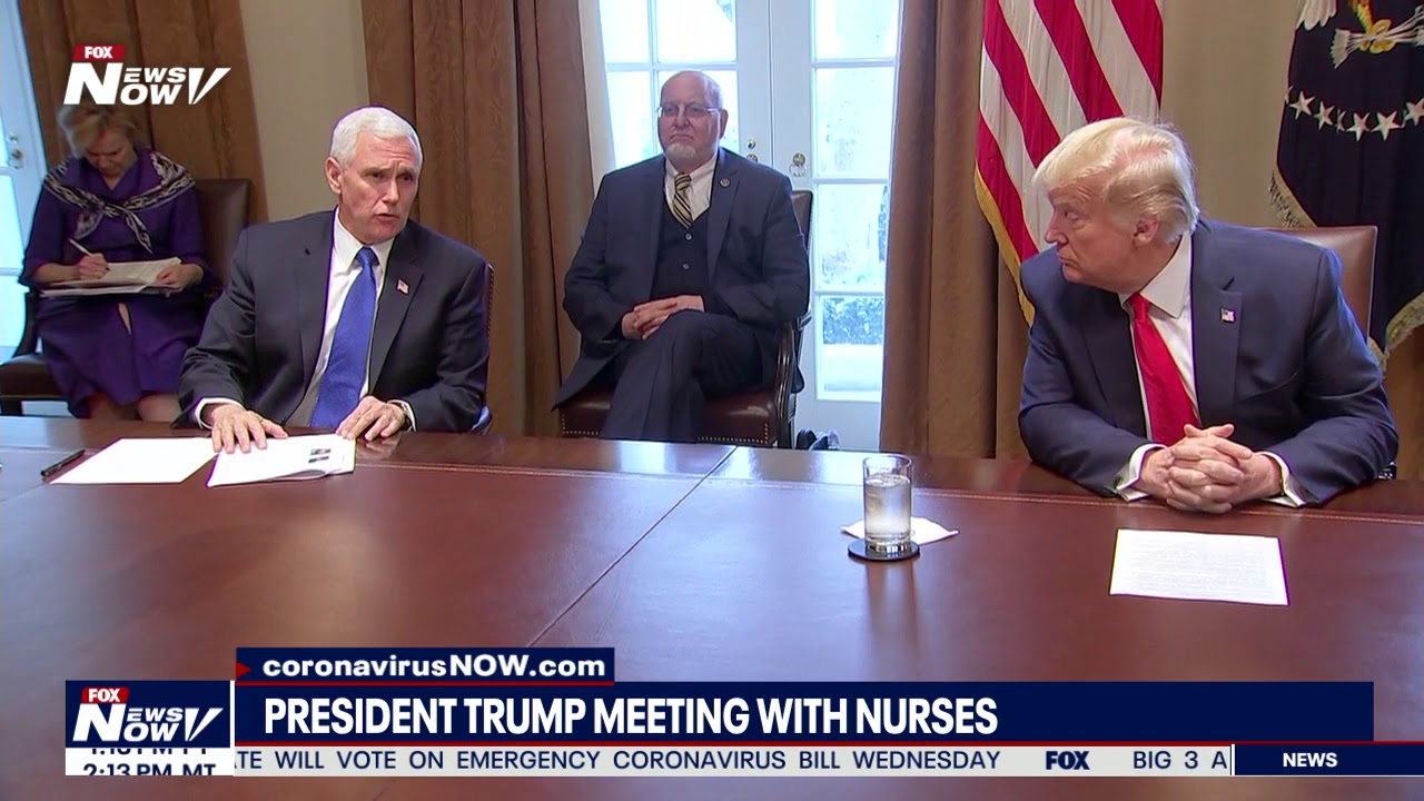 SOCIAL DISTANCING ROUNDTABLE: Trump, Pence meet with nurses at White House