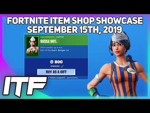 Fortnite Item Shop *NEW* SIZZLE SGT. SKIN! [September 15th, 2019] (Fortnite Battle Royale)