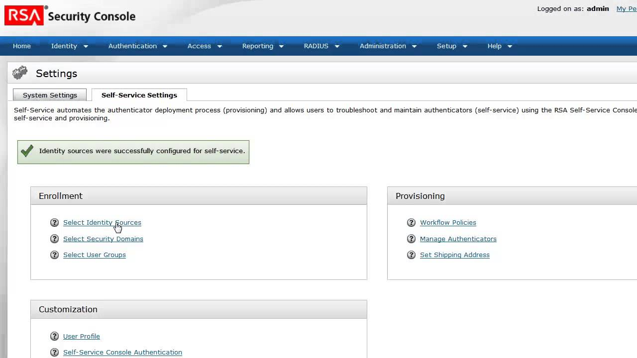 rsa authentication manager 81 self service user enrollment