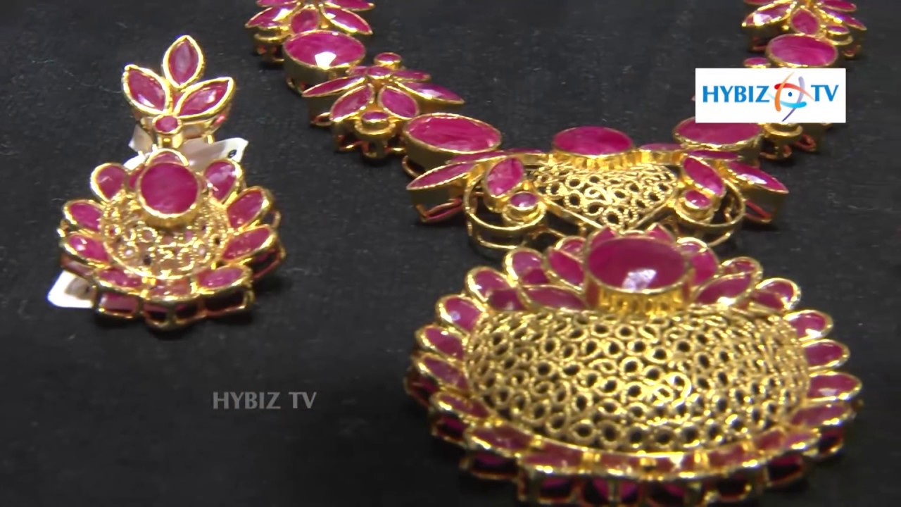 79b133a467 Ruby Stones Necklace Set | Malabar Gold and Diamonds | hybiz - YouTube