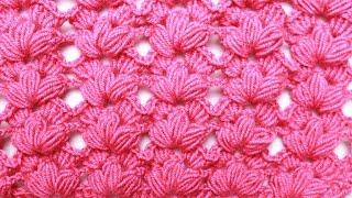 Узор крючком Тюльпаны. Рельефный узор с пышными столбиками
